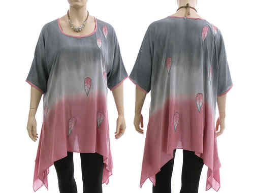 Lagenlook boho flared tunic, bluish grey with pink XL-XXL