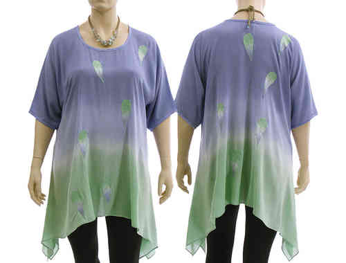 Lagenlook boho flared tunic, lilac with mint L-XL