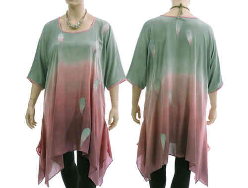 Lagenlook boho flared tunic, grey-green dusty pink XL-XXL