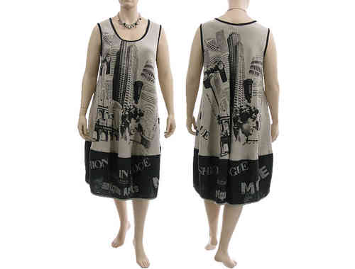 Lagenlook linen balloon pinafore dress with print nature black L-XL