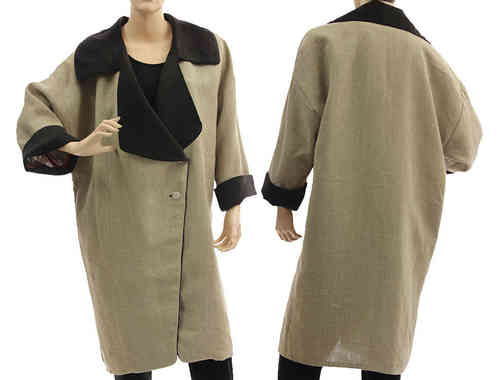 Lagenlook reversible linen coat with lapel collar in nature M-L