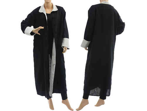 Lagenlook puristic long linen coat in black with white M-L