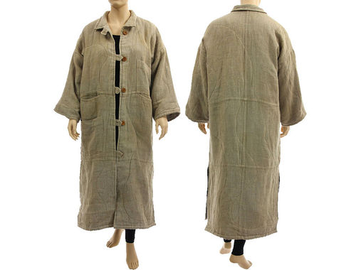 Puristic lagenlook maxi coat warm lined, linen nature L-XL