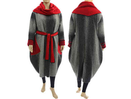 Cosy balloon dress boiled wool, separate turtleneck, grey red XL-XXL