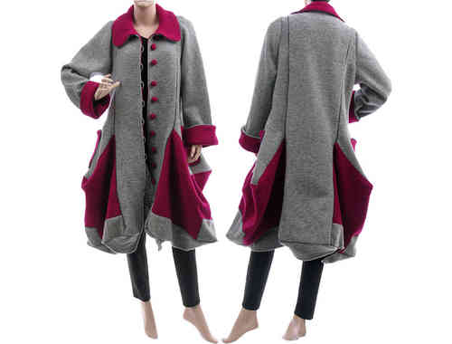 Lagenlook handmade bulgy coat boiled wool grey magenta M