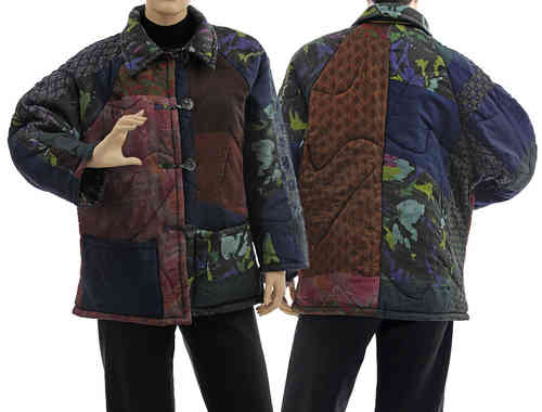 Handmade boho artsy silk coat jacket, patchwork navy, berry M-L