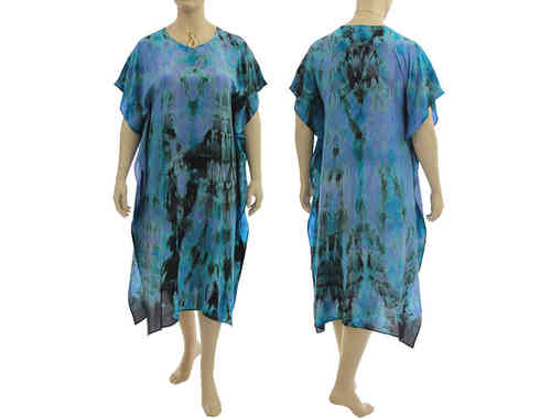 Boho artsy silk evening dress tunic, turquoise, lilac, black S-XL