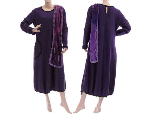 Lagenlook balloon dress boiled wool in purple black XL
