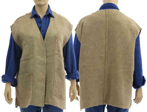 Handmade lagenlook vest, wrap natural eco linen No 5 - XXL-XXXL