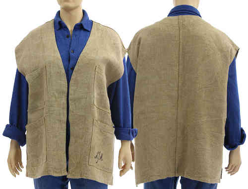 Handmade lagenlook vest, wrap natural eco linen No 7 - XL-XXL