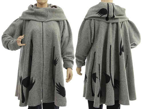 Boho artsy flared coat with separate hood, boiled wool in grey L-XXL