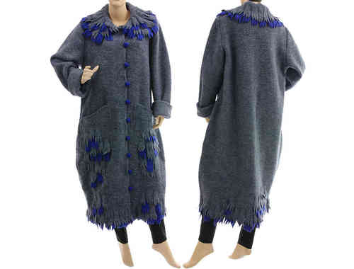 Lagenlook artsy boho maxi coat boiled wool in blue-grey L-XL