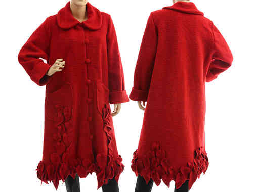Lagenlook artsy boho coat with leaves, boiled wool in red M-L