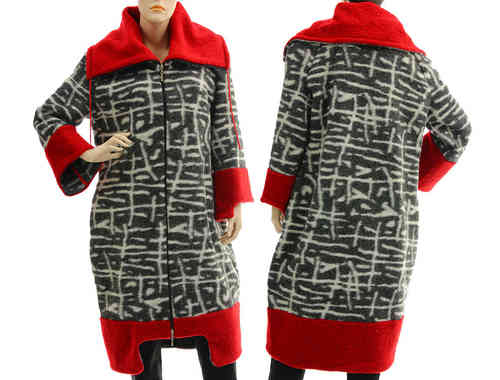Boho artsy coat, patterned boiled wool in grey-white red M-L