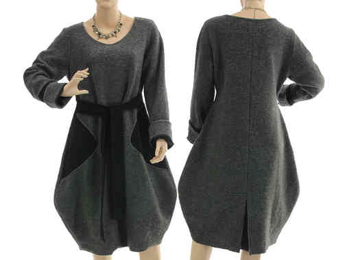 Artsy balloon dress separate turtleneck, boiled wool grey black M-L