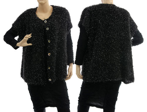 Oversized hand knitted cardi wrap Rosanna in black M/L-XL