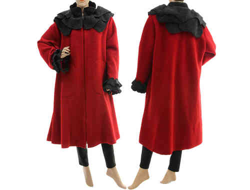 Boho artsy coat with rose collar, boiled wool in red with grey XL-XXL