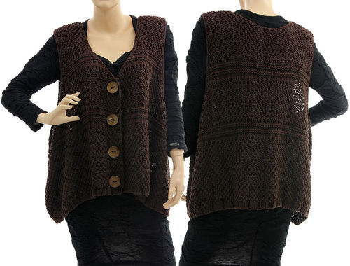Oversized hand knitted wrap, vest Joana, cotton mix in dark brown L-XL