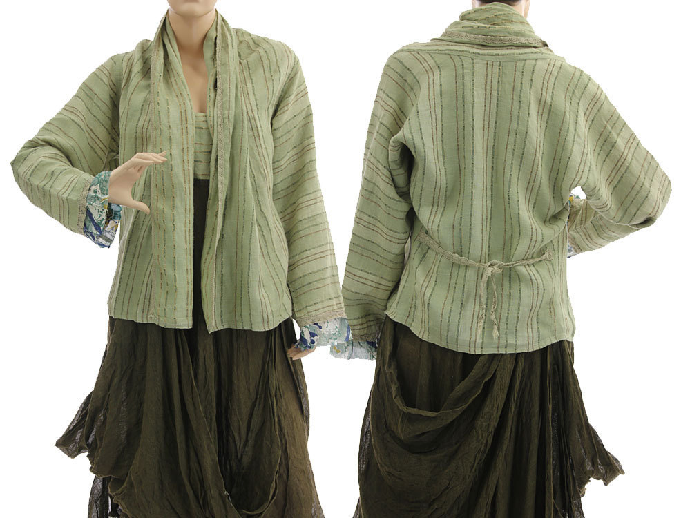 Linen pinafore dress with jacket, olive green M - CLASSYDRESS