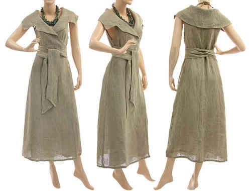 Flared maxi wrap dress with large collar, linen in natural S-M