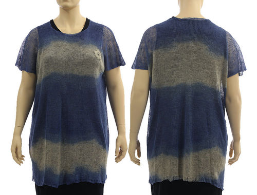 Lagenlook knit linen sweater tunic top, in dark blue natural L-XL