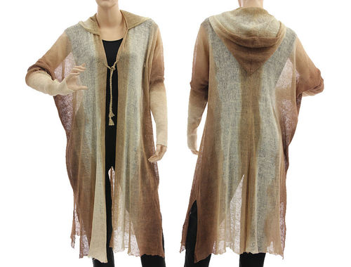 Lagenlook knit hooded coat duster wrap, linen in ecru brown M-XL
