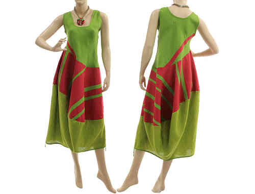 Lovely colourful linen artsy balloon dress in green red-pink S