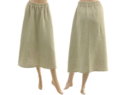 Lagenlook flared skirt with side slits, linen in light nature S