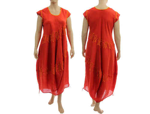 Beautiful long lagenlook balloon dress linen in red-orange XL-XXL