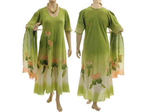 Handmade artsy boho dress with scarf, crinkle cotton in green apricot L-XL
