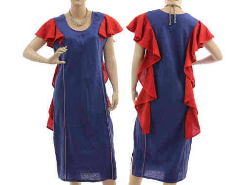 Stunning linen party cocktail dress with flounces in blue with red M-L