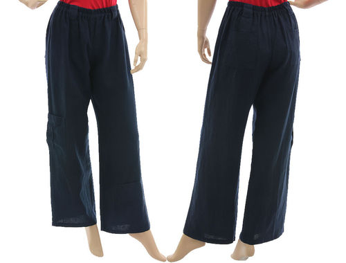 Lagenlook long wide legs pants, linen in navy blue S-M