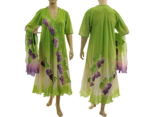 Artsy boho dress with scarf, crinkle cotton in apple green purple, L-XL/XXL