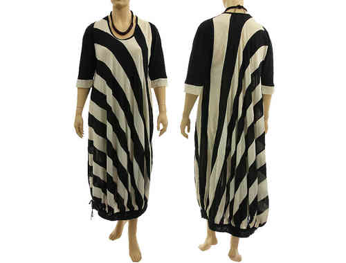 Wide shaped lagenlook dress, diagonal stripes black off white XL-XXXL