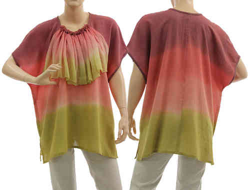 Artsy boho tunic blouse with ruffle in berry pink green L-XL