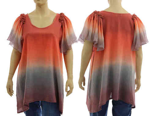 Artsy boho flared tunic with ruffles in terracotta grey berry XL-XXL