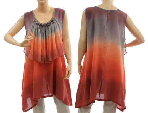 Artsy boho flared tunic with ruffle in berry grey terracotta M-L