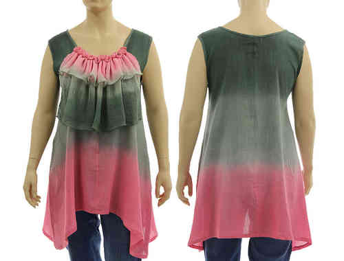 Artsy boho flared tunic with ruffle in grey pink L-XL