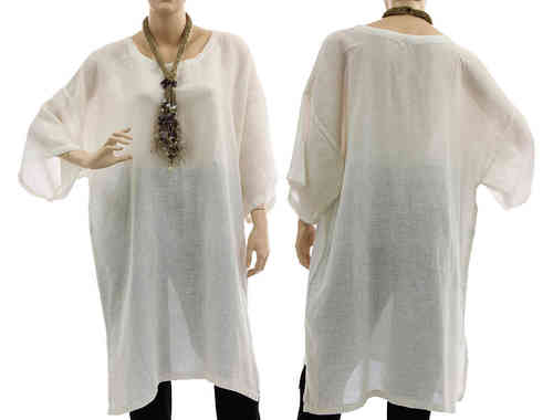Long lagenlook blouse tunic, linen-cotton gauze in white M-L