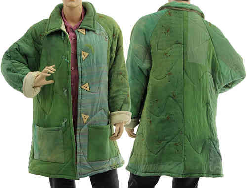 Handmade boho artsy silk coat jacket, patchwork green M-L
