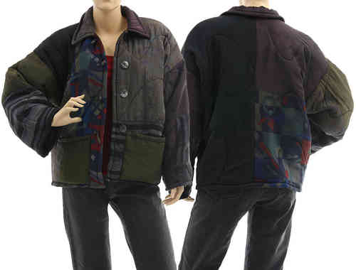 Boho artsy silk coat jacket, patchwork black olive berry M L