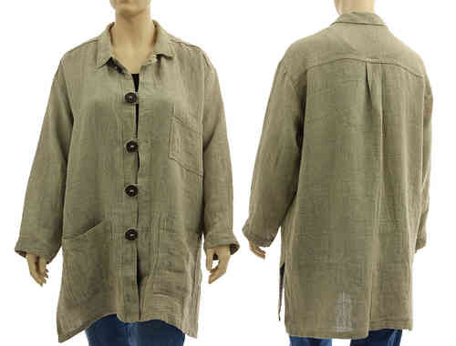 Long layered look blouse / shirt from natural, unprocessed linen L XL