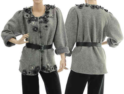 Boho artsy jacket with flowers, boiled wool in grey M-L