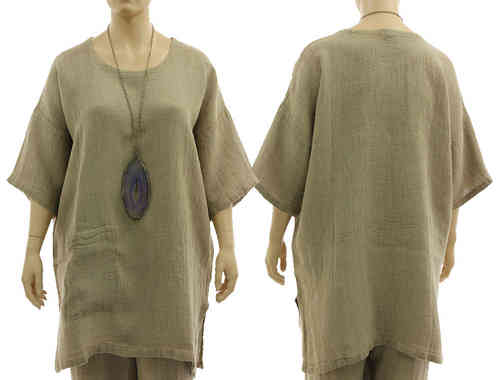 Long layered look tunic blouse from natural, unprocessed linen L-XXL