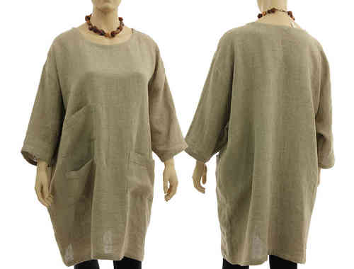 Lagenlook wide shaped, oversized dress tunic, linen in nature L-XXXL