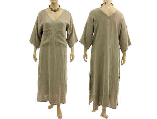 Flattering maxi dress, caftan with 2 pockets, linen in nature L-XL