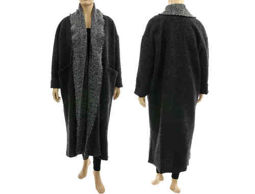 Long coat duster with shawl collar, boiled wool in anthracite L-XL/XXXL