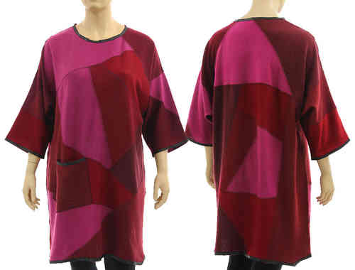 Lagenlook knit dress tunic, merino wool in burgundy pink L-XL/XXL