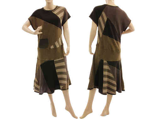 Beautiful flared knit dress, merino wool in beige brown S-M
