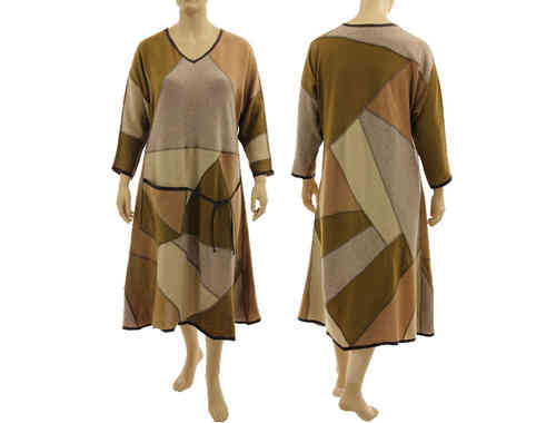 Beautiful long flared knit dress, merino wool in beige brown L-XL/XXL